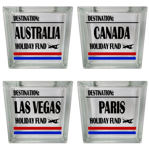 Destination Holiday Fund Clear View Decoration Glass Block Money Box